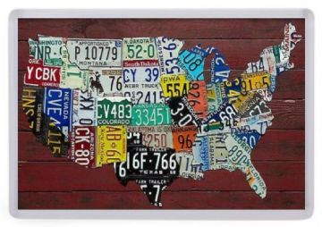 American License Plates Map of the USA Fridge Magnet